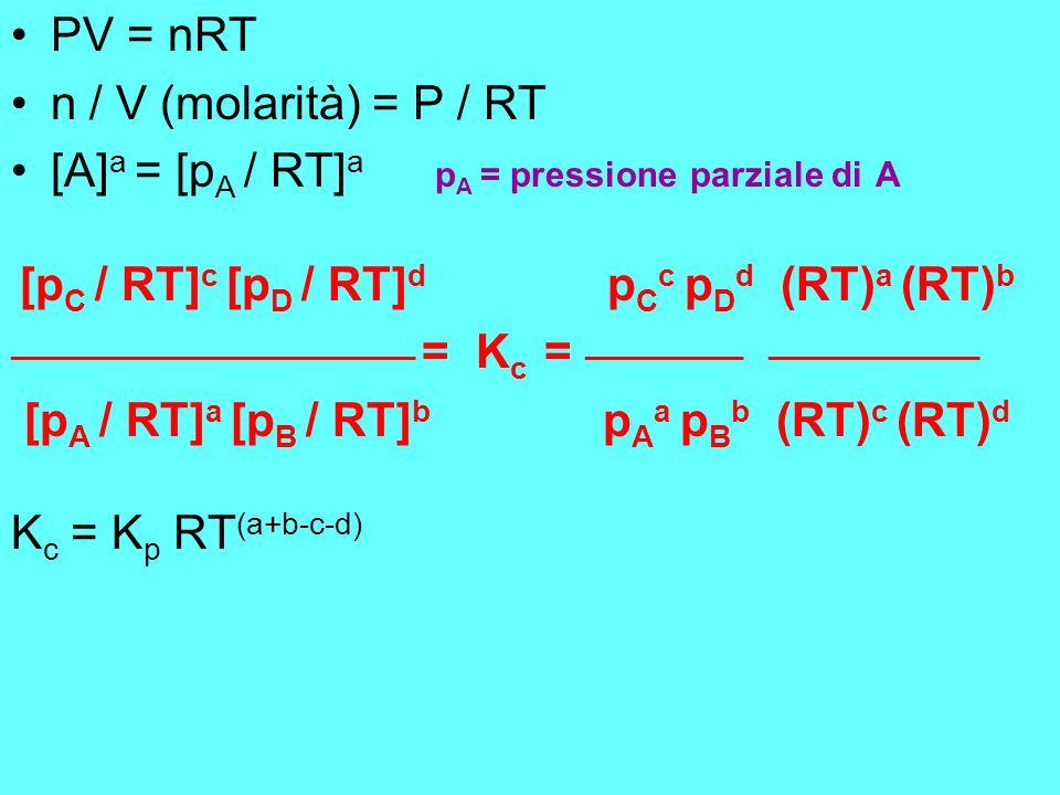 PV = nRT n / V (molarità) = P / RT. [A]a = [pA / RT]a pA = pressione parziale di A.